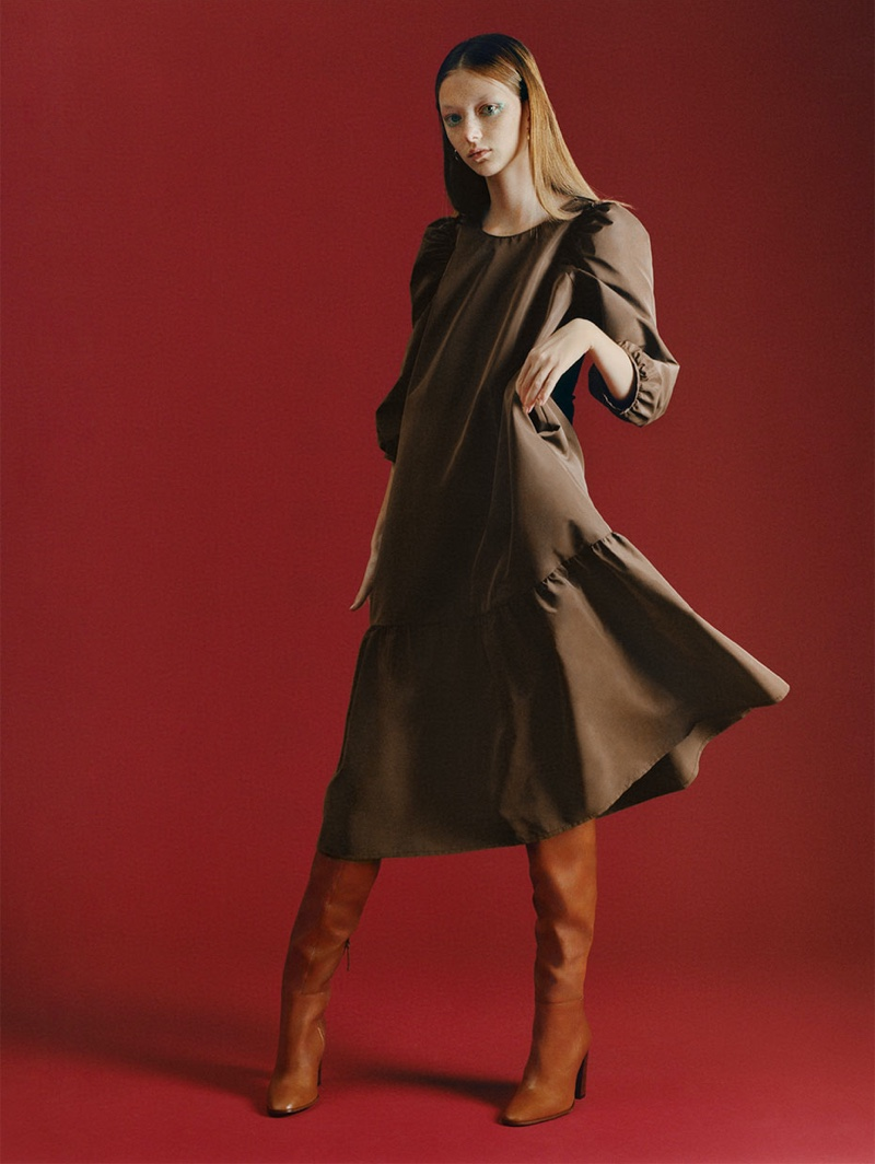 Zara Voluminous Taffeta Dress and High Leg Leather Heeled Boots