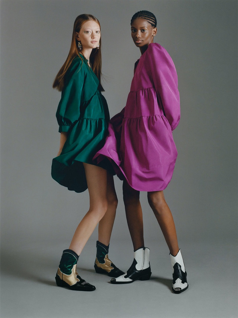 Sara Grace Wallerstedt and Elibeidy Dani front Zara TRF Overbold editorial