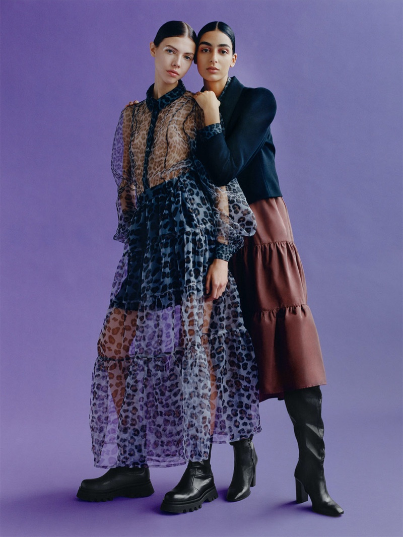 Nora Attal and Lea Julian pose in 1980s inspired looks for Zara TRF Overbold fall-winter 2019 editorial
