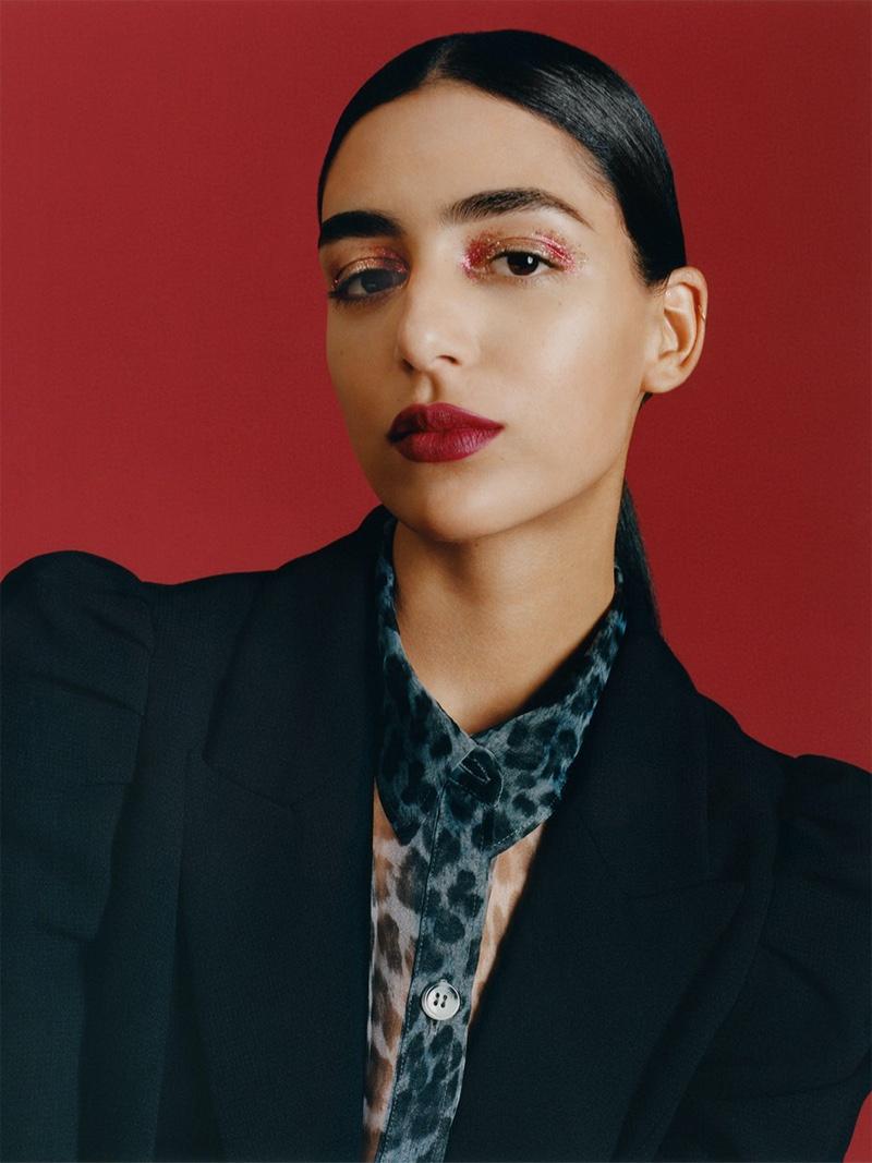 Nora Attal wears Zara red lipstick