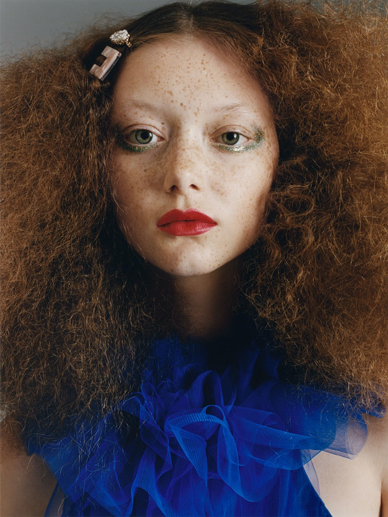 Sara Grace Wallerstedt models 1980s inspired makeup and hair for ZARA TRF Overbold editorial
