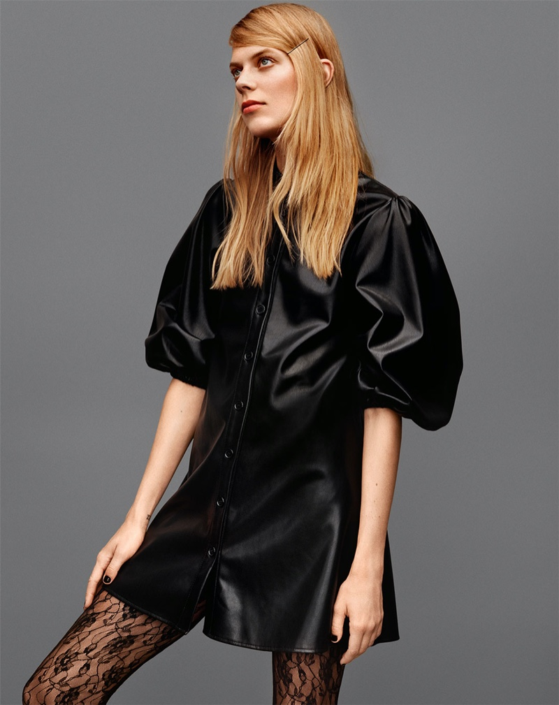 Zara Faux Leather Dress and Opaque Tights