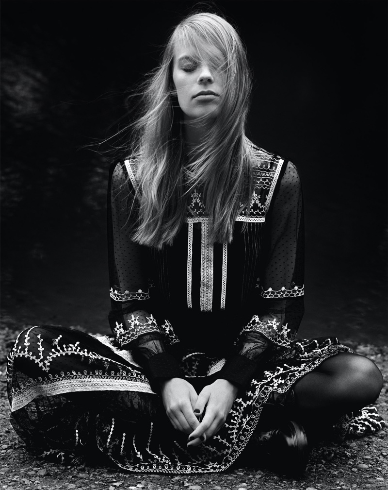 Lexi Boling poses in black outfits from Zara's fall-winter 2019 selection