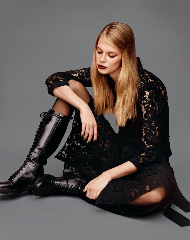 Zara Lace Shirt Dress, Opaque Tights and Low Heeled Laced Boots