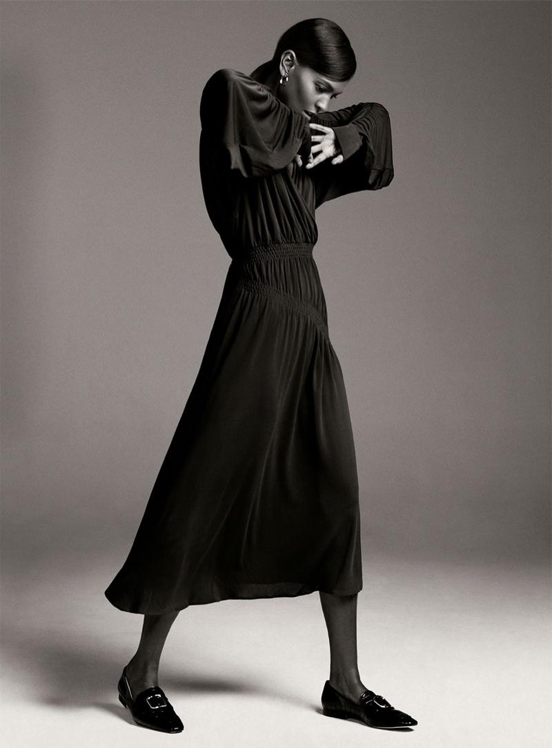 Liya Kebede poses in Zara Stay Minimal fall-winter 2019 editorial