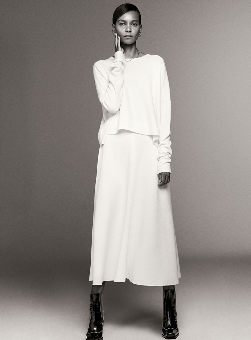 Zara Soft Touch Shirt, Soft Feel Skirt and Heeled Ankle Boots