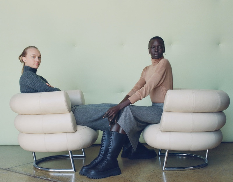 Gemma Ward and Alek Wek  front Zara Great Knitwear fall-winter 2019 editorial