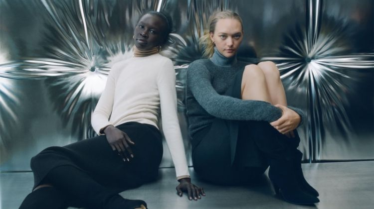 Alek Wek and Gemma Ward wear Zara's fall-winter 2019 sweater styles