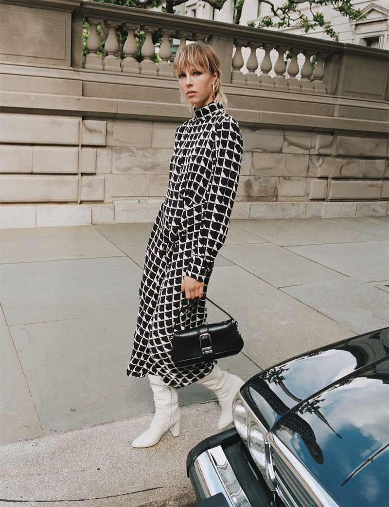 Zara Long Printed Dress, Leather Heeled Boots and Baguette Bag with Buckle