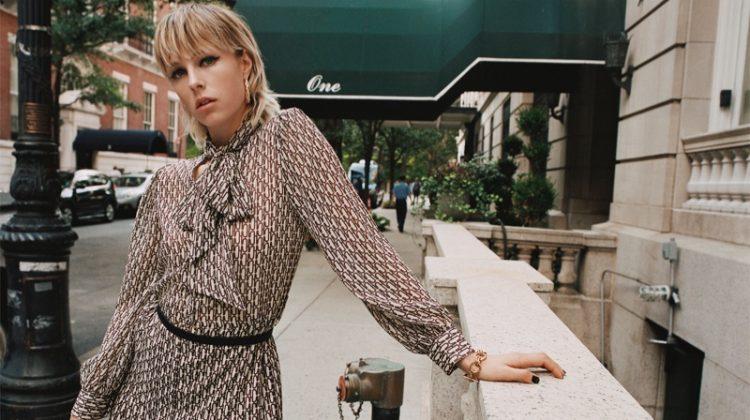 Zara Pleated Printed Dress and Textured Hoop Earrings