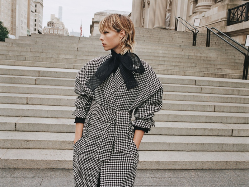 Zara Houndstooth Coat and Organza Blouse with Tie