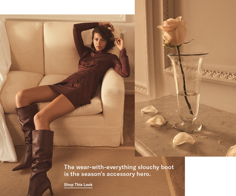 Zimmermann Espionage Silk Drape Dress $560 and Tall Slouchy Boots $995
