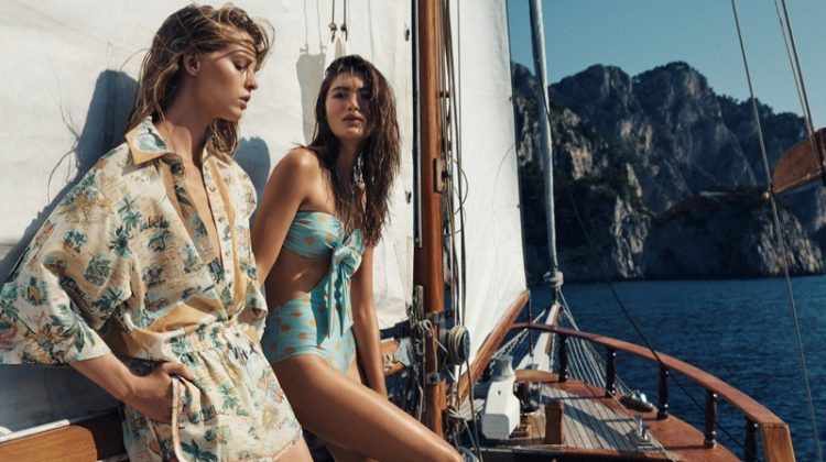 Abby Champion and Grace Elizabeth appear in Zimmermann resort 2020 campaign