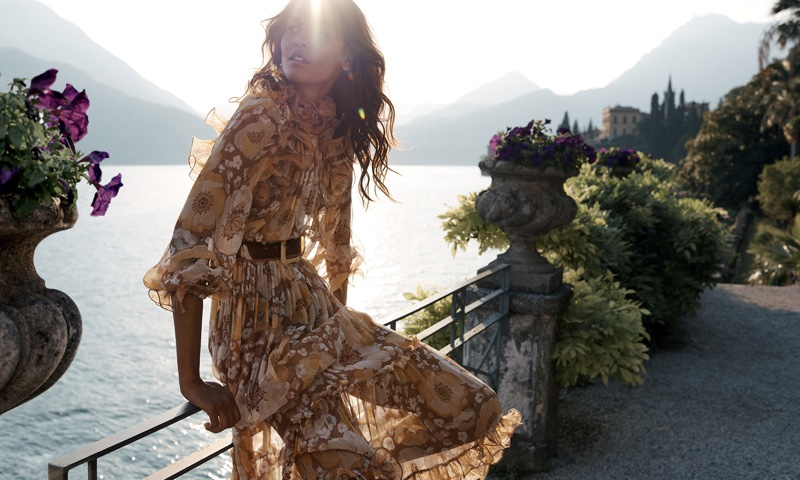 Liya Kebede poses in Lake Como, Italy, for Zimmermann resort 2020 campaign