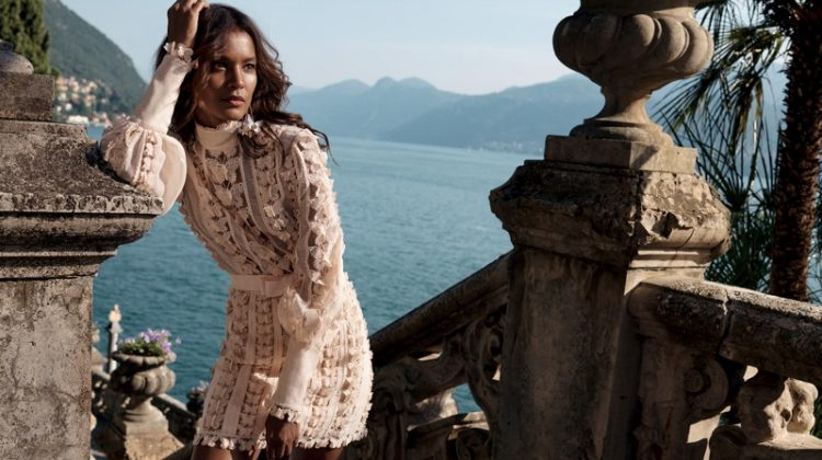Model Liya Kebede wears lace in Zimmermann resort 2020 campaign