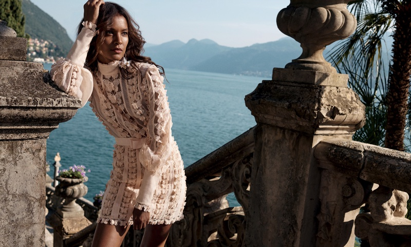 Model Liya Kebede wears lace in Zimmermann resort 2020 campaign