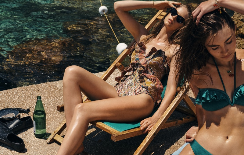 Abby Champion and Grace Elizabeth model swimsuits in Zimmermann resort 2020 campaign