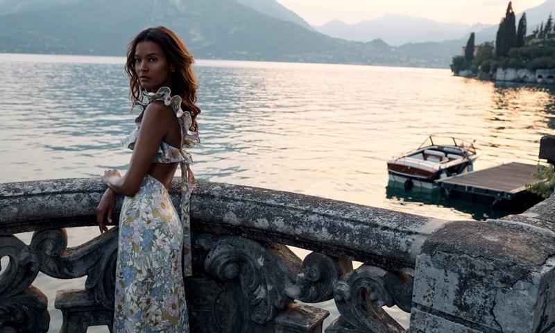 Liya Kebede poses in floral print dress for Zimmermann resort 2020 campaign