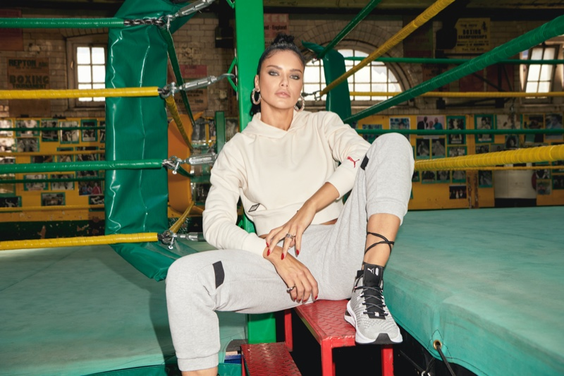 Posing in a boxing gym, Adriana Lima wears her PUMA collaboration