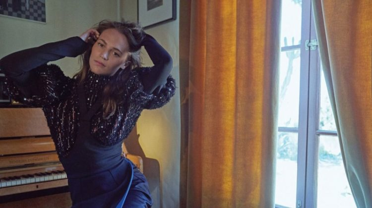 Striking a pose, Alicia Vikander wears Louis Vuitton