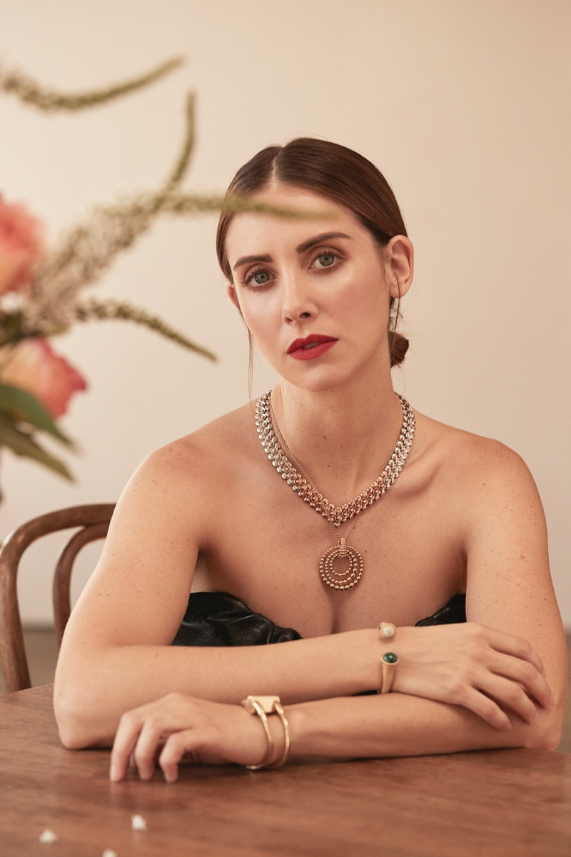 Photographed by David Roemer, Alison Brie glitters in jewelry