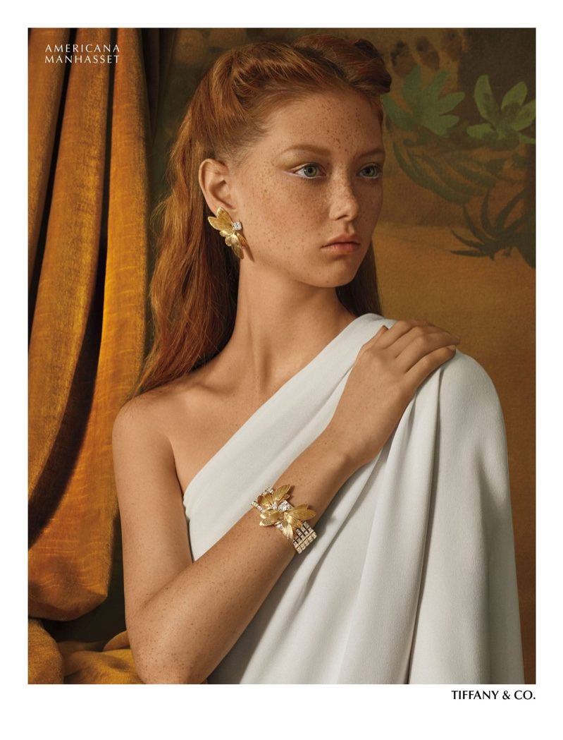 Sara Grace Wallerstedt models Tiffany & Co. jewelry for Americana Manhasset holiday 2019 campaign