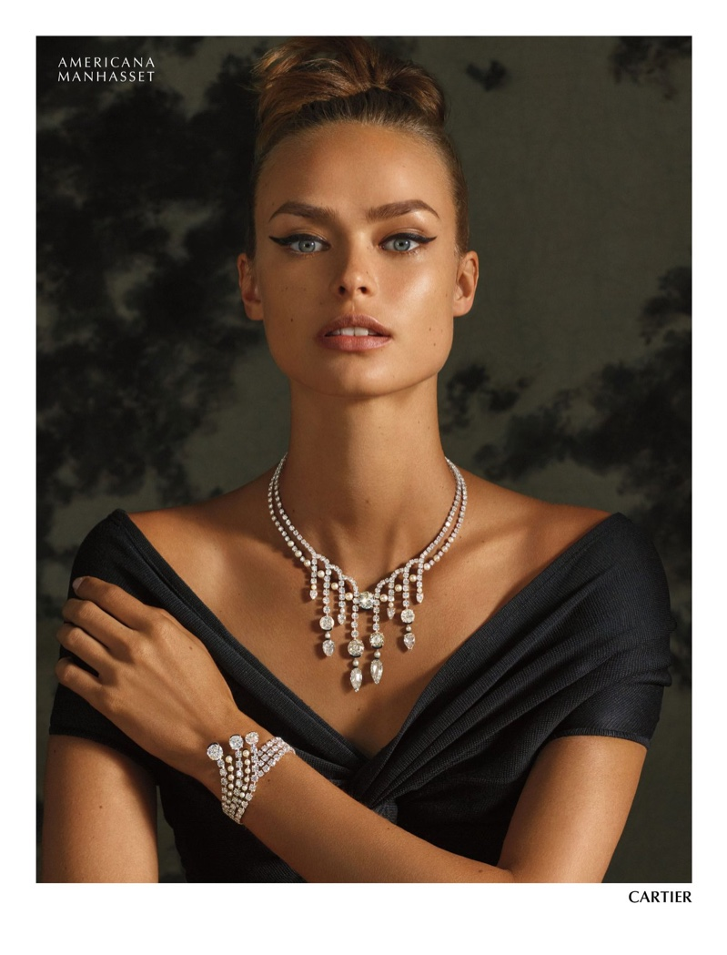 Birgit Kos shines in Cartier jewelry for Americana Manhasset holiday 2019 campaign