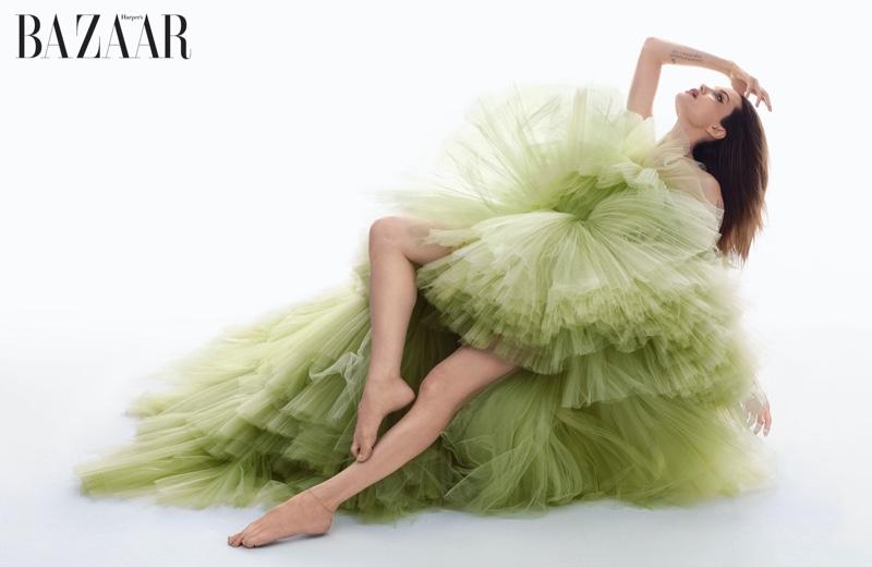 Actress Angelina Jolie wears Giambattista Valli Haute Couture ball gown