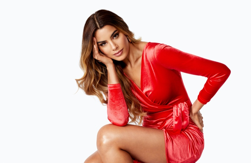 Wearing a red dress, Ariadna Gutierrez fronts Bubbleroom.com Holiday 2019 campaign