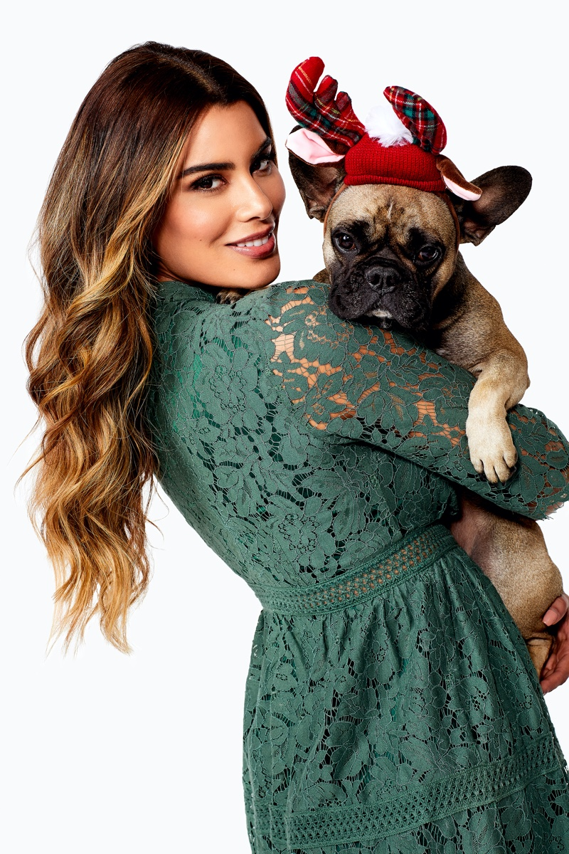 Posing with a pup, Ariadna Gutierrez fronts Bubbleroom.com Holiday 2019 campaign