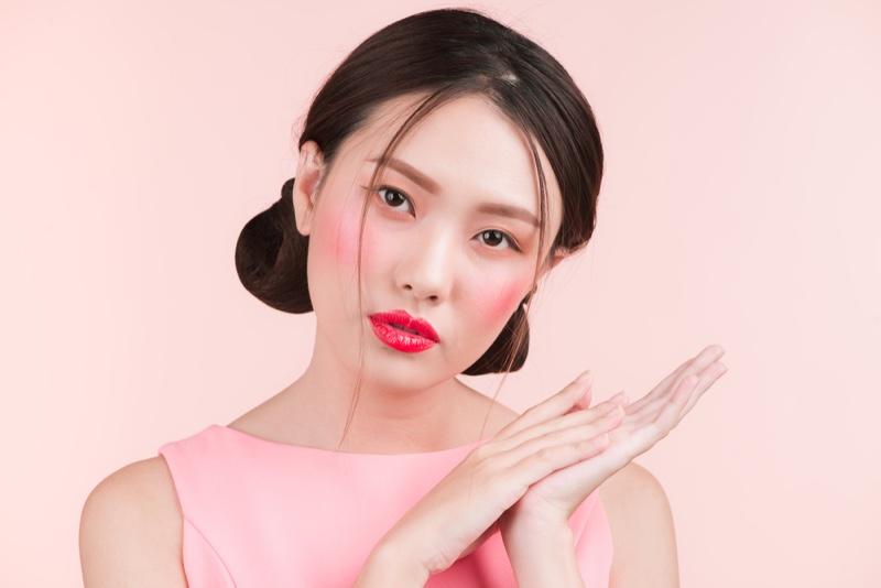 Asian Model Makeup Beauty Glossy Lips Bun