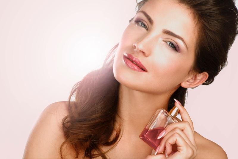 Beauty Model Fragrance Perfume Bottle Brunette