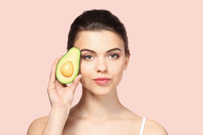 Beauty Model Posing Avocado