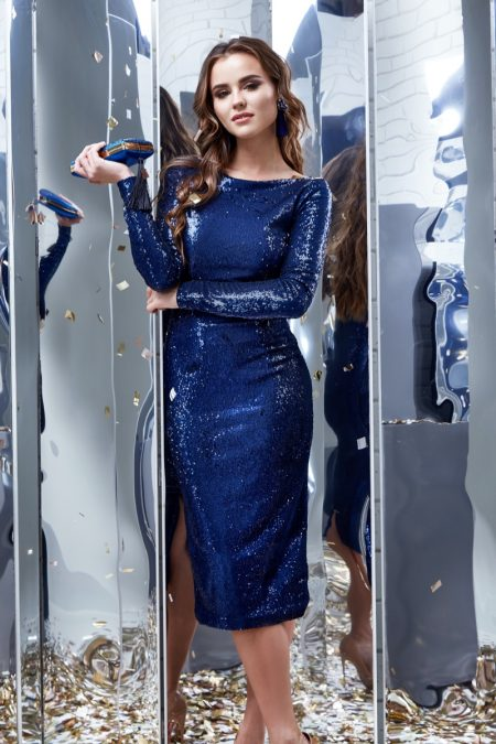 Stand out in a blue sequin dress