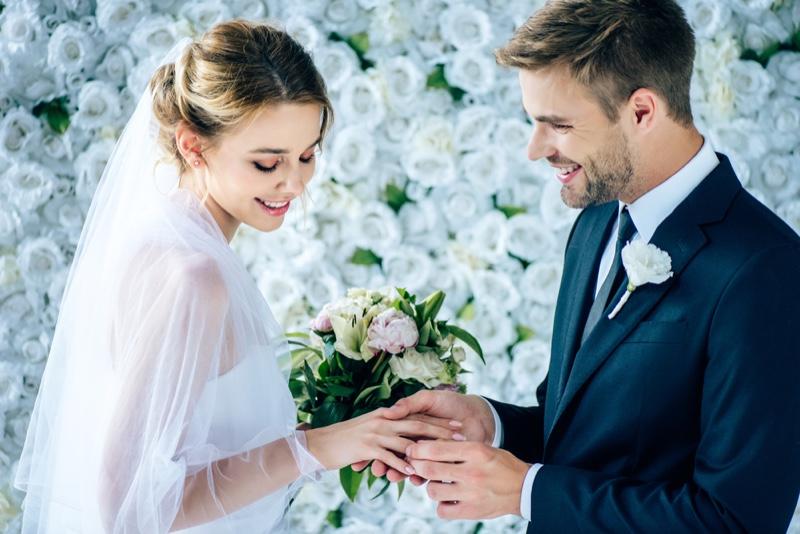 Bride Groom Flower Backdrop Smiling Wedding
