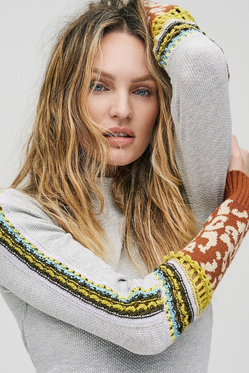 Model Candice Swanepoel poses in thermal top