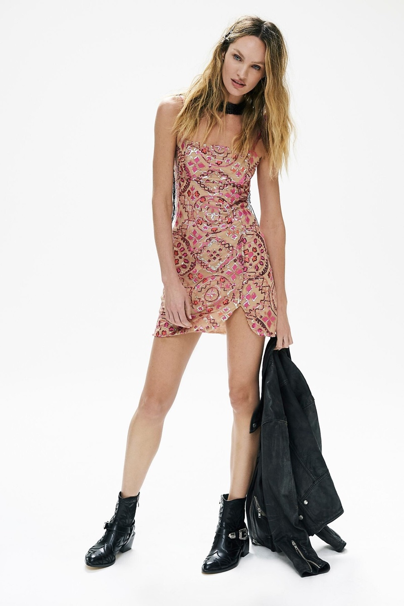 Rocking Free People's Show Off mini dress, Candice Swanepoel channels rock and roll vibes