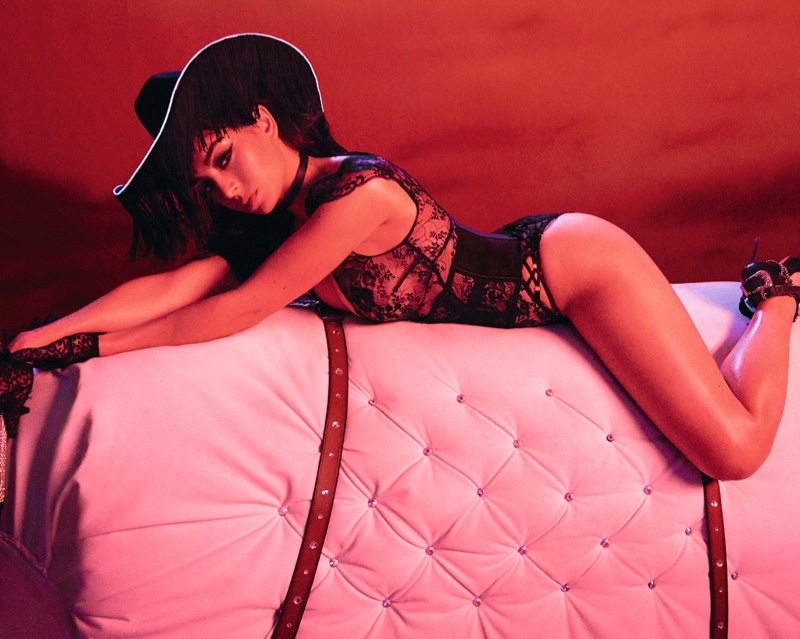 Clad in black lace, Charli XCX appears in Agent Provocateur holiday 2019 campaign