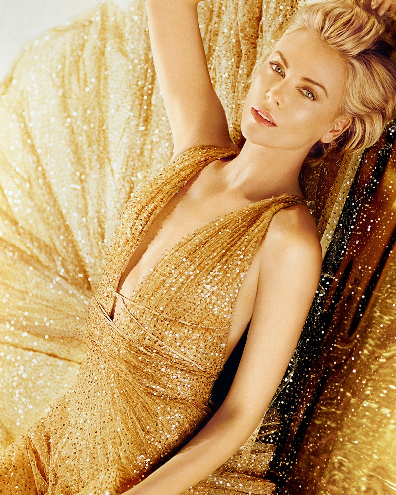 Shining in gold, Charlize Theron fronts Dior J'adore Perfume 2019 campaign