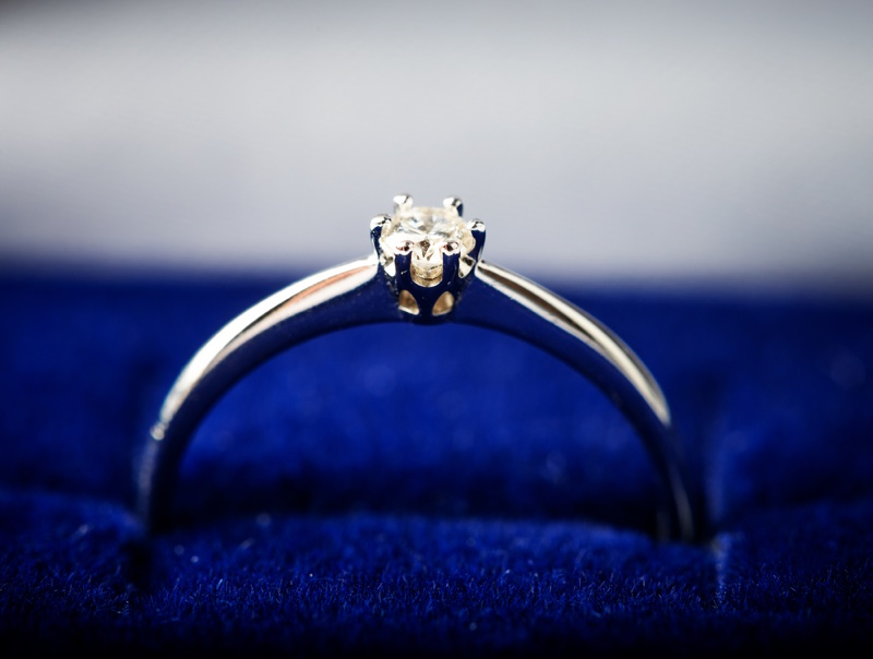 Closeup Diamond Ring Blue Jewelry Box