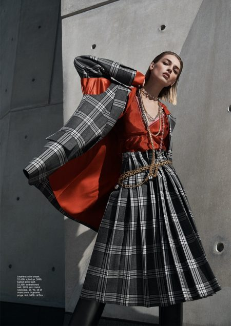 Daga Ziober Embraces Plaid Style for Gotham Magazine