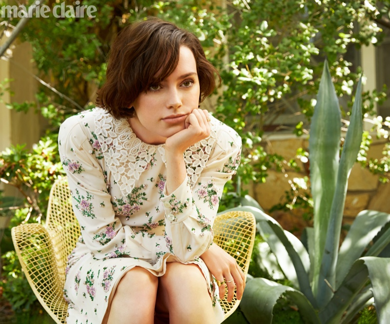 Actress Daisy Ridley poses in Miu Miu floral print dress