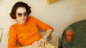 Daisy Ridley wears Zimmermann top and shorts with Stella McCartney sunglasses