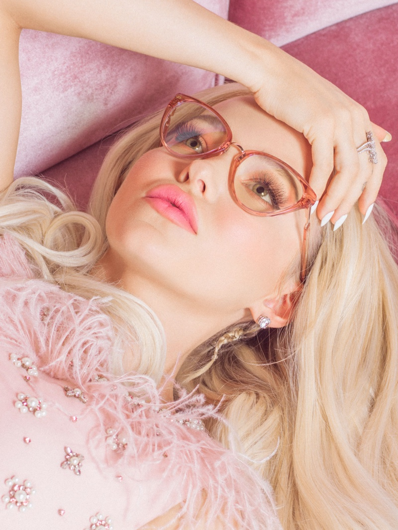 Wearing The Modern glasses, Dove Cameron poses in Prive Revaux campaign
