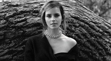 Captured in black and white, Emma Watson wears Bottega Veneta dress and jewelry