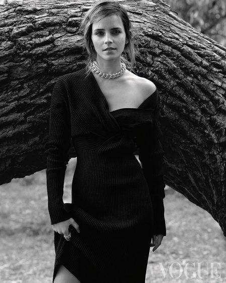 Captured in black and white, Emma Watson wears Bottega Veneta dress and jewelry