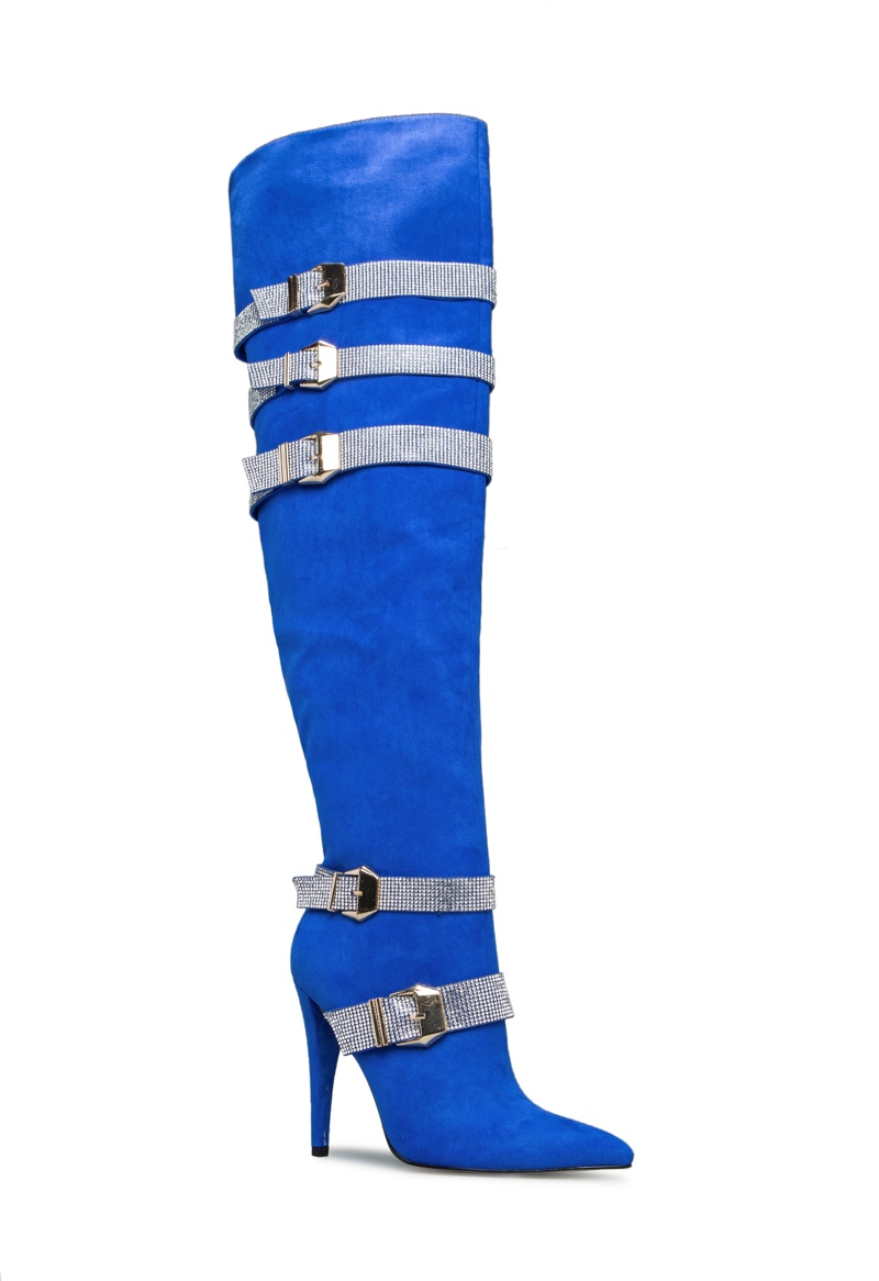 Erika Jayne x ShoeDazzle Apollonia Boot in Blue $93.95