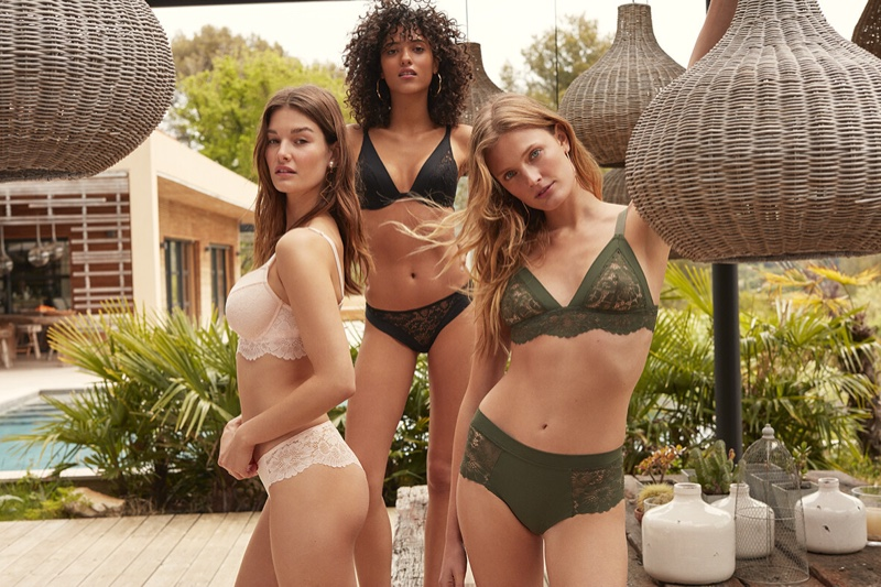 Ophelie Guillermand, Melodie Vaxelaire and Constance Jablonski star in Etam fall-winter 2019 lingerie campaign