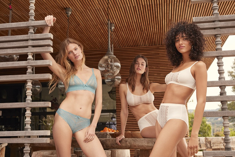 Models Ophelie Guillermand, Melodie Vaxelaire and Constance Jablonski appear in Etam fall-winter 2019 lingerie campaign