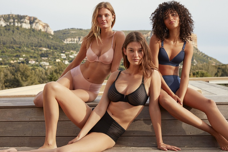 Models Ophelie Guillermand, Melodie Vaxelaire and Constance Jablonski soak up the sun in Etam fall-winter 2019 lingerie campaign